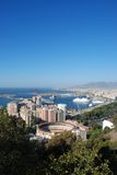 Bullring and port area, Malaga City, Spain. Stock Image