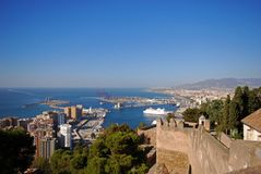 Bullring and port area, Malaga City, Spain. Stock Photography