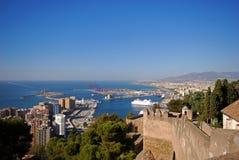 Bullring and port area, Malaga City, Spain. View from the citadel of the port area, Alcazaba de Malaga, Malaga, Costa del Sol, Malaga Province, Andalusia, Spain Stock Photography