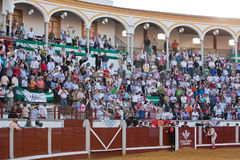 Bullring of Pozoblanco, the people request the president of the square the award the toreador with white handkerchiefs. Pozoblanco, province Cordoba, Spain stock image