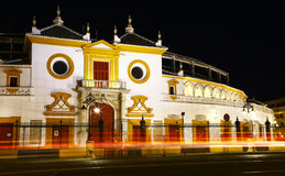 Bullring of Seville by night Stock Photos