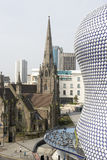 The Bullring Shopping Centre,Birmingham,UK. With chuech in background royalty free stock photos