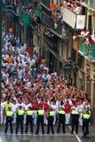 Bullrunning, Pamplona royalty-vrije stock foto