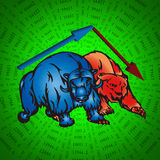 Bulls and bear. Cartoon bulls and bear stock trading market metaphor royalty free illustration