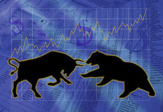 Bulls and Bears. Illustration of stock market bull and bear