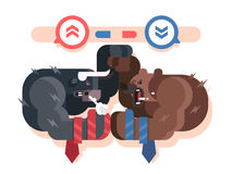 Bulls and bears fight. Market business, finance fight, investment and profit, growth financial trend, vector illustration Royalty Free Stock Photo