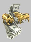 Bulls and Bears 3. The image of the bull and the bear made of gold, against the background of dollar banknotes on a gray background Royalty Free Stock Image