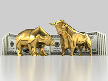 Bulls and Bears 5. The image of the bull and the bear made of gold, against the background of dollar banknotes on a gray background Stock Images