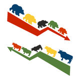 Bulls and bears. Rise and fall of quotations on stock exchange. Royalty Free Stock Photo