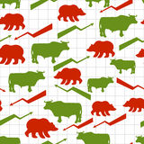 Bulls and bears seamless pattern. Exchange traders. Red up arrow. Green down arrow. Texture for business fabric. Grid business graph. Raising and lowering Royalty Free Stock Images