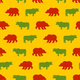 Bulls and bears seamless pattern. Green Red Bull and bear. Alleg. Ory of  background for Exchange. Traders in securities market. Texture of fabric business Stock Photography