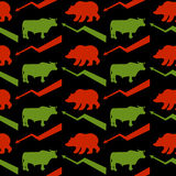 Bulls and bears traders seamless pattern. Green Red Bull and bea. R. Rise and fall of course. Green arrow up. Red arrow down. Texture for Exchange fabric Royalty Free Stock Photography