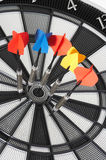 Bulls eye with 5 arrows Royalty Free Stock Image
