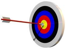 Bulls Eye. Perfect bullseye isolated on white Stock Photos