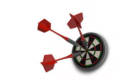 Bulls Eye. This is a beautiful clean 3d render of three darts in the bulls eye. This image is perfect as an icon or logo representing sport, success or winning Stock Image