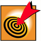 Bulls eye bullseye success. An image which shows gold and black rings with a red arrow hitting the central target spot bullseye success stock illustration