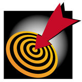 Bulls eye bullseye success. An image which shows gold and black rings with a red arrow hitting the central target spot bullseye success royalty free illustration