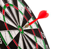 Bulls eye on a dart board. The bulls eye on a dart board Royalty Free Stock Photography