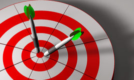 Bulls eye and darts in 3D. Bulls eye and darts in white and red 3D rendered Stock Photography