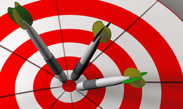 Bulls eye and darts in 3D. Bulls eye and darts in white and red 3D rendered Royalty Free Stock Photography