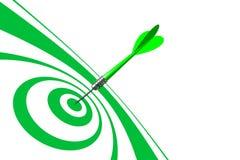 Bulls Eye Green Dart. Bulls eye with green dart and green target over white, wide angle royalty free illustration