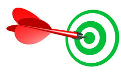 Bulls Eye Red Dart. Bulls eye with red dart and green target over white vector illustration