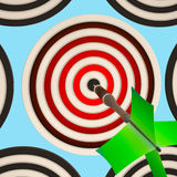 Bulls eye Target Shows Focused Successful Aim Royalty Free Stock Photos