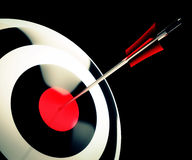 Bulls eye Target Shows Successful Winning Stock Photography