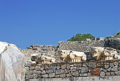 Bulls heads. Ephesus ruins. Ancient Greek city on the coast of Ionia near Selcuk Royalty Free Stock Image