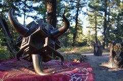 Bulls Horn and Cube Art made of Metal Stock Photos