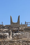 Bulls horns statue at Knossos Minoan Palace Royalty Free Stock Images
