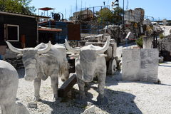 Bulls sculpture. Fantiscritti marble quarry museum. Apuan alps. Tuscany. Italy. Fantiscritti is a marble quarry site, situated in the Apuan Alps, and it is known Royalty Free Stock Photo