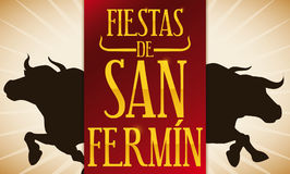 Bulls Silhouette and Red Label for Spanish San Fermin Celebration, Vector Illustration. Banner with bulls silhouette running in a traditional encierro in the Royalty Free Stock Images