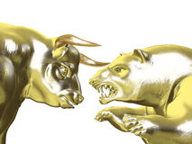 Bulls vs Bears - Gold Market. Angry Golden Bull and Bear face-to-face.  Isolated on a white background Stock Photo