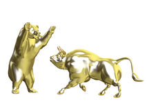 Bulls vs Bears - Gold Market. Angry Golden Bull and Bear squaring off.  Isolated on a white background Royalty Free Stock Images
