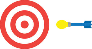 Bullseye με το βέλος λαμπών φωτός Στοκ Εικόνες