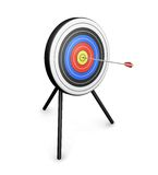 Bullseye. 3D render of an arrow hitting the bullseye Stock Image
