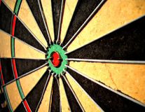 Bullseye. A close up of a bull's-eye on a dart board Royalty Free Stock Images