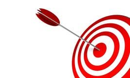 Bullseye. 3D Render. Arrow on target. Concept: Success, skill, objectives Royalty Free Stock Photos