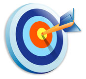 Bullseye. Dart in the bullseye of a target Royalty Free Stock Images