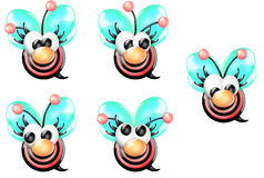 Bullseye Bee Girl with Nose Front Looking Sheet Royalty Free Stock Image