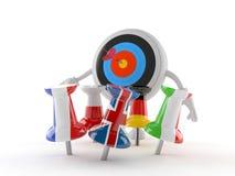Bullseye charakter z thumbtacks w flagach royalty ilustracja