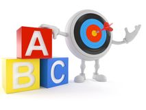 Bullseye charakter z zabawkarskimi blokami ilustracja wektor