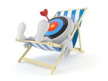 Bullseye charakteru lying on the beach na pok?adu krze?le ilustracja wektor