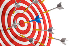 Bullseye concept. Close up of success dart board target with arrows on white background. Bullseye concept. 3D Rendering Stock Image