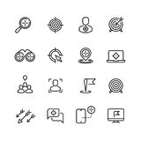 Bullseye, customer focus and targeting line vector icons Stock Photo