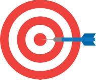 Bullseye with dart. Center. Vector red bullseye and blue dart is in the center royalty free illustration