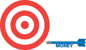 Bullseye with dart with text money. Side Stock Photography
