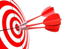 Bullseye with darts. Isolated bullseye with red darts royalty free illustration