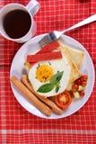 Bullseye Egg on Bread Toast Stock Images
